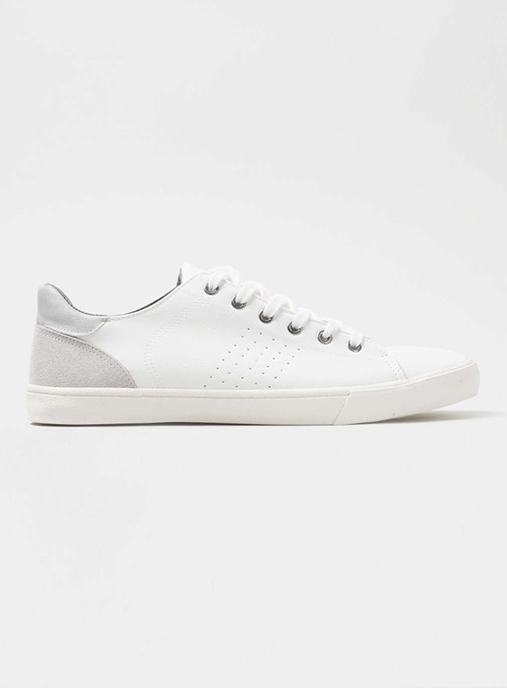 White pu trainers with contrast heel by