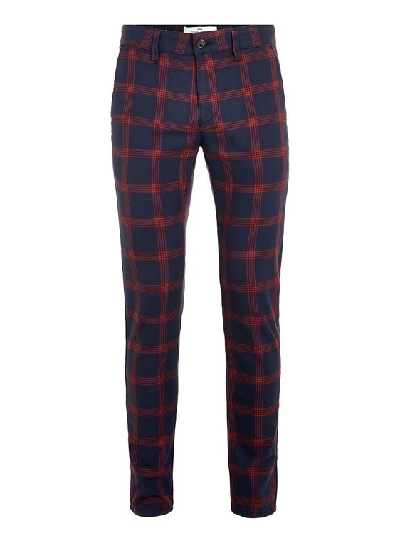 2cce9e4f2c Navy red/check stretch skinny chinos by T... — Thread
