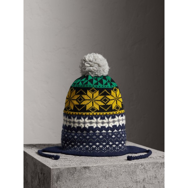 c3437cdf675 Pom-pom Fair Isle Wool Cashmere Beanie by... — Thread