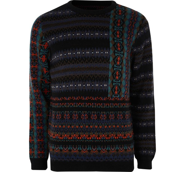 d0d93672979 Mens Navy mixed Fairisle knit Christmas jumper by River Island