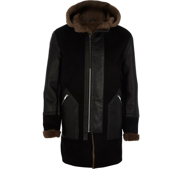 675472427e Mens Black faux suede borg lined parka by... — Thread