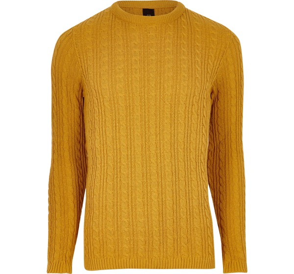 8d797fe3b9d9 River Island Mens Mustard Yellow cable knit muscle fit jumper