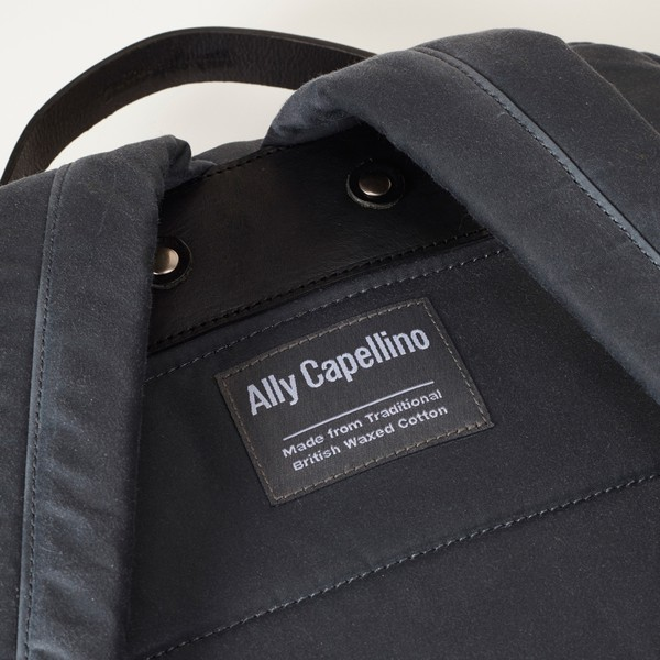 aa05a353f641 iAn Wax Cotton Rucksack in Grey with Black Leather. £295