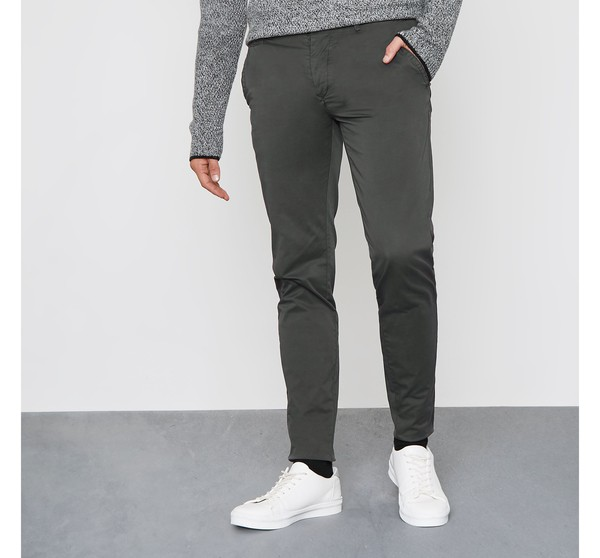 Mens Dark Grey Super Skinny Fit Chino Tro Thread