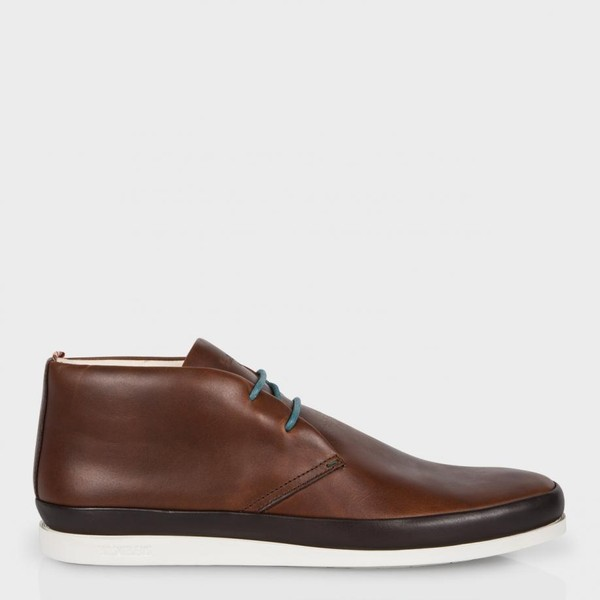152fd0be2d4 Paul Smith Men's Brown Leather 'Loomis' Chukka Boots With White Soles by  Paul Smith