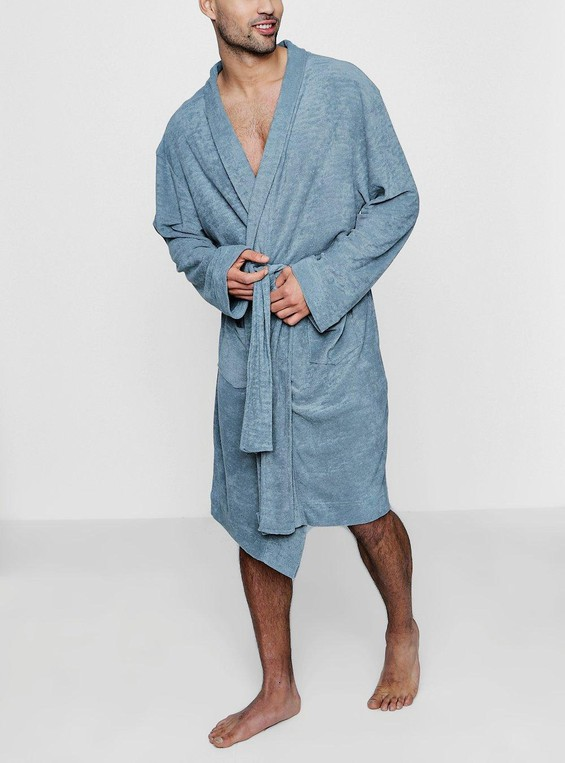 2f8d5f823256 Grey Dressing Gown In Towelling by boohooMAN — Thread