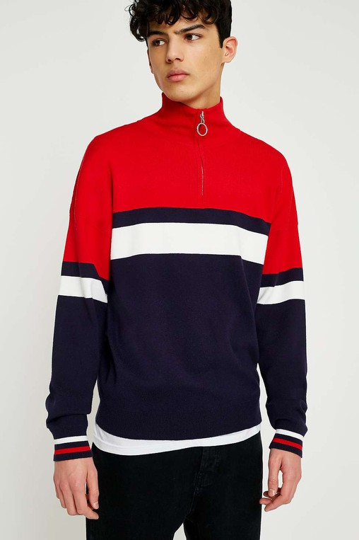 60da6af1f3ae Placement Stripe Half-Zip Mock Neck Sweat... — Thread