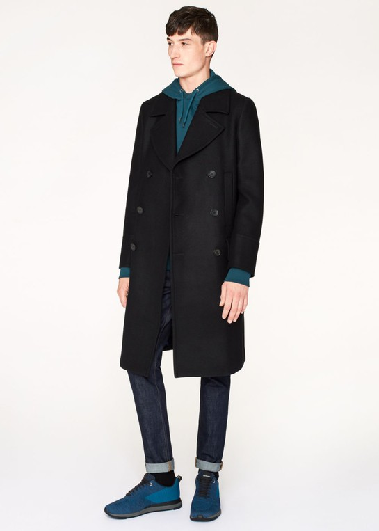 Men's Double Breasted Navy Wool Cashmere Overcoat