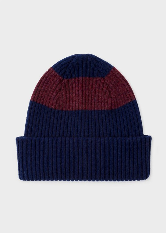 11eaf1337d9 Men s Navy Ribbed Lambswool Beanie Hat With Plum Stripe