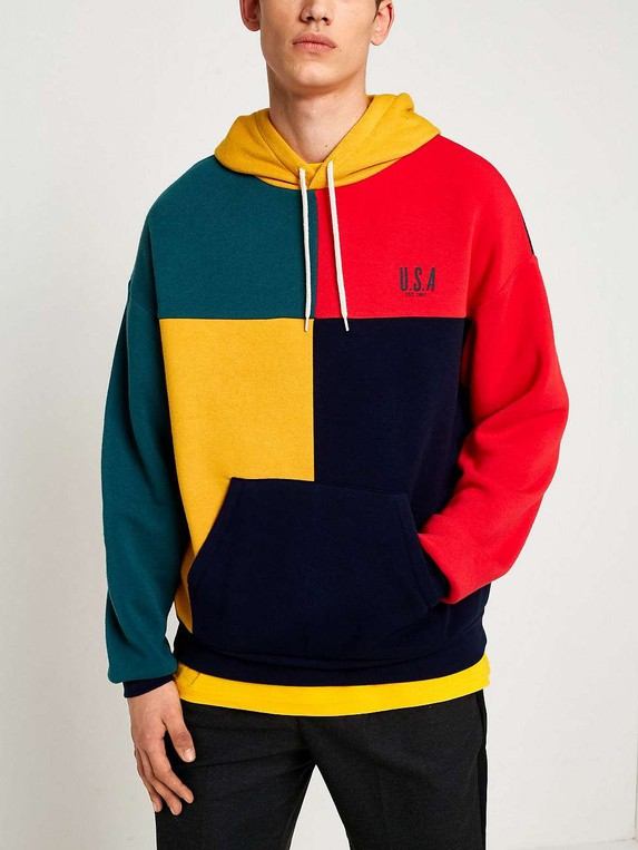 3efa665a UO Colour Block USA Hoodie by Urban Outfitters