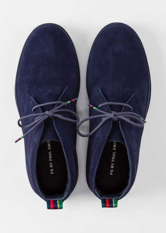 5e44ff3b14d Men's Navy Suede 'Inkie' Chukka Boots by Paul Smith