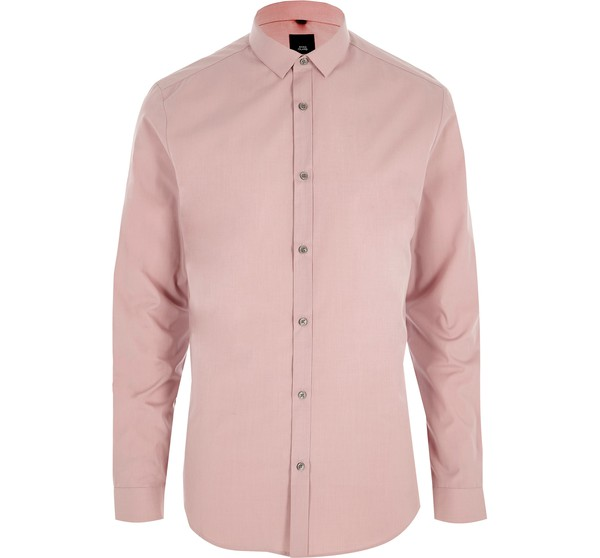 96b028f6 Mens Blush Pink slim fit long sleeve shir... — Thread