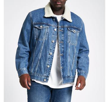 4005120e77 Mens Big and Tall Blue borg lined denim jacket in Blue