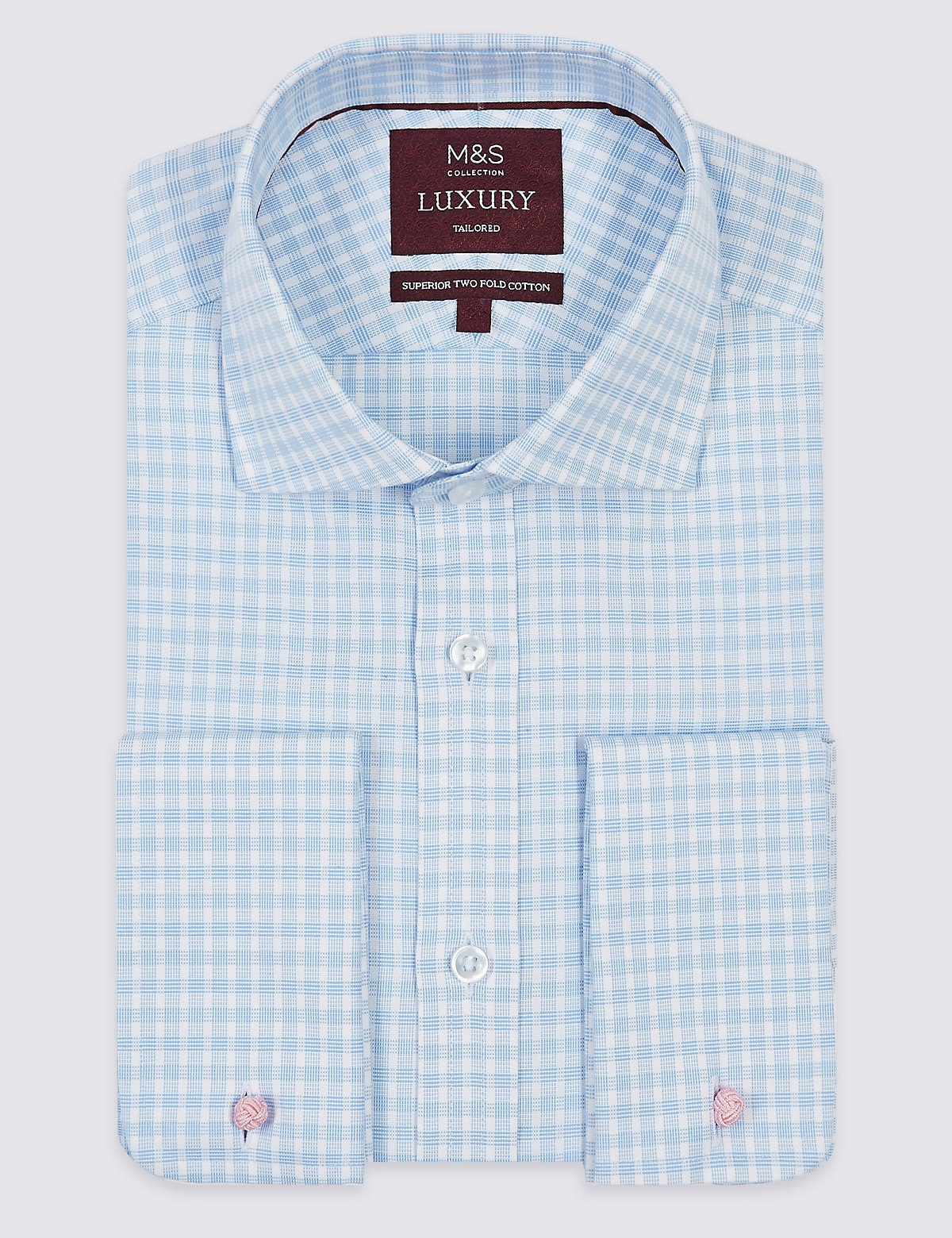 Marks & Spencer Blue Mix Pure Cotton Tailored Fit Shirt