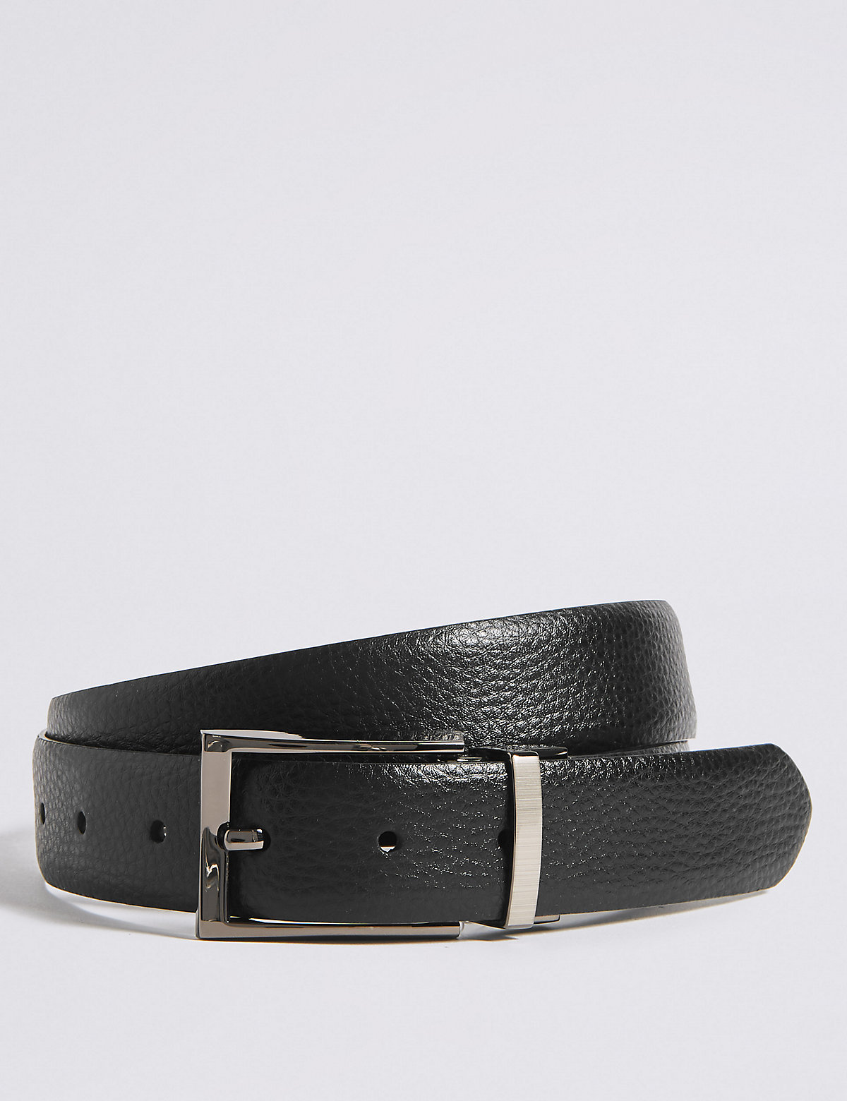 Marks & Spencer Black And Brown Coated Leather Textured Reversible Belt