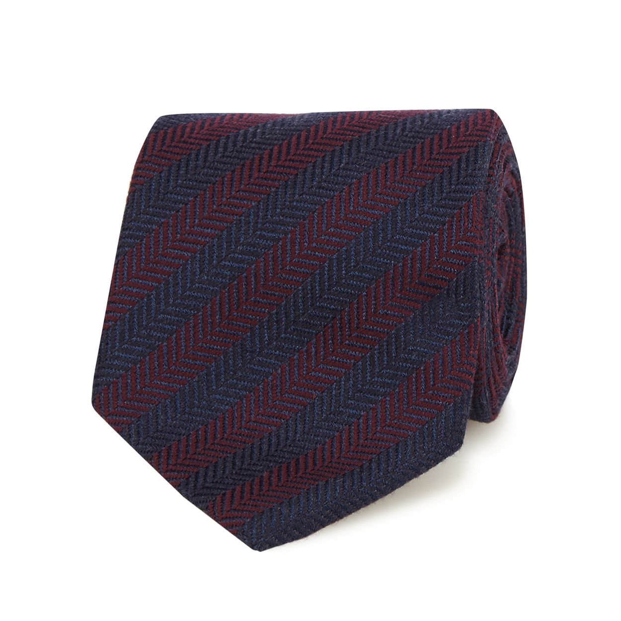 Hammond & Co. by Patrick Grant Wine Dark red chevron patterned tie with wool