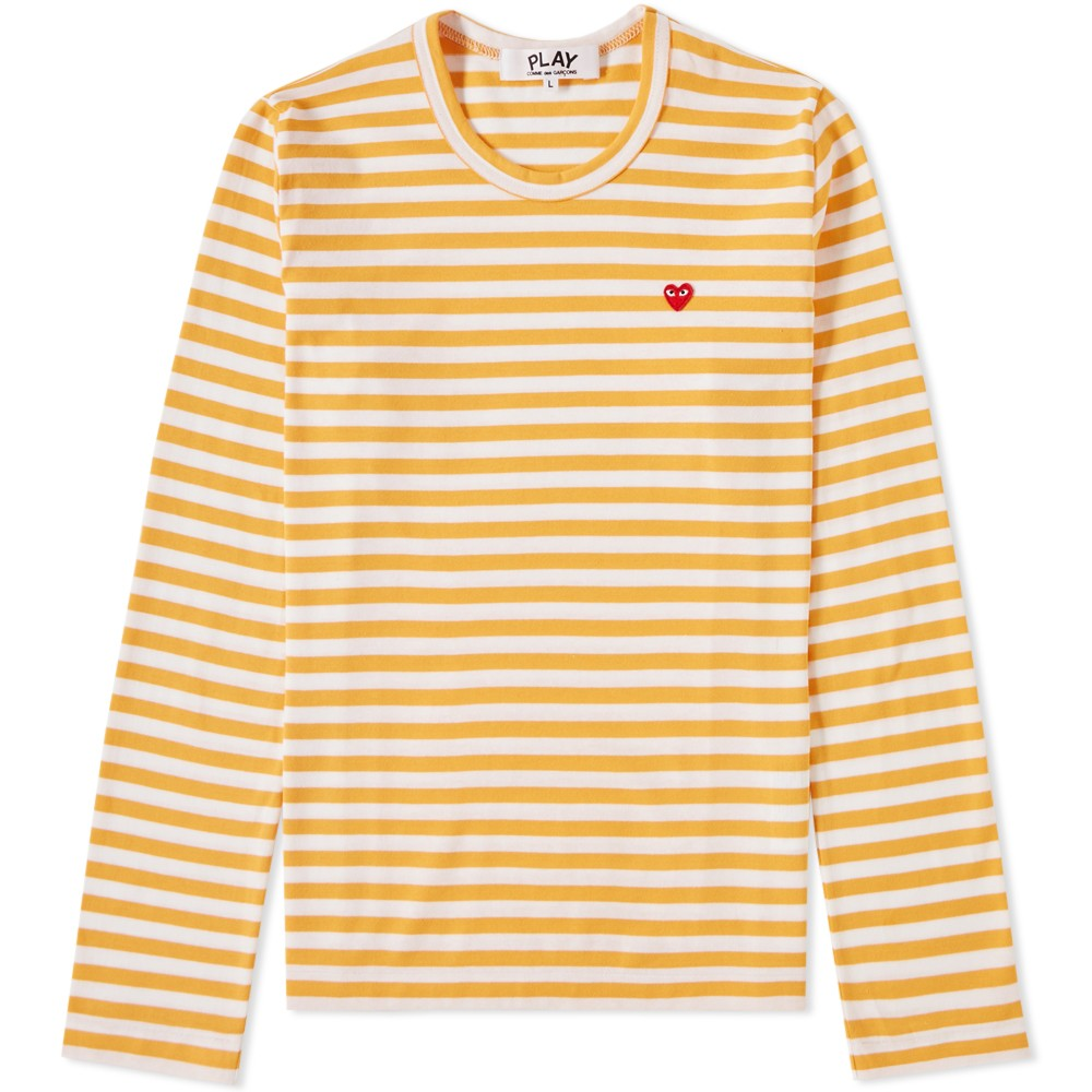 83ea6600e0b39 Comme des Garcons Play Women s Little Red Heart Long Sleeve Striped Tee. £84