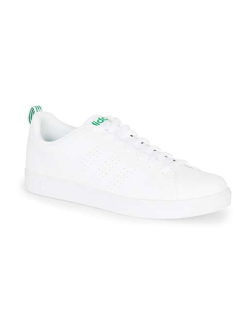 Topman White Adidas white and green perforated advantage clean trainers