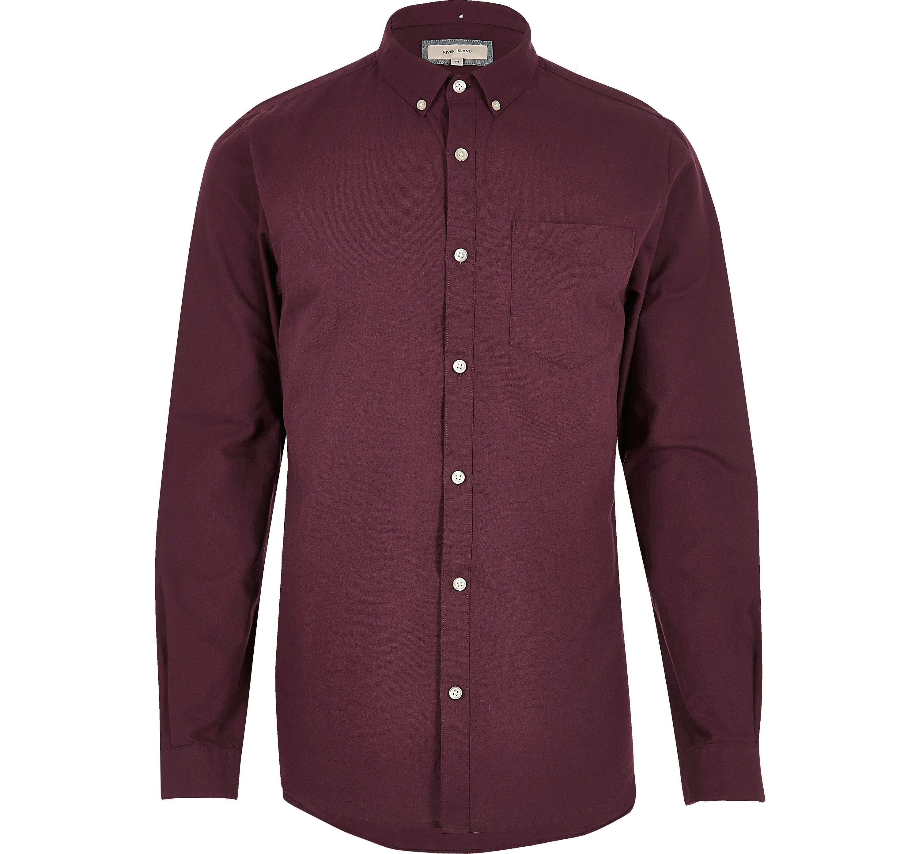 River Island Mens Red casual long sleeve Oxford shirt