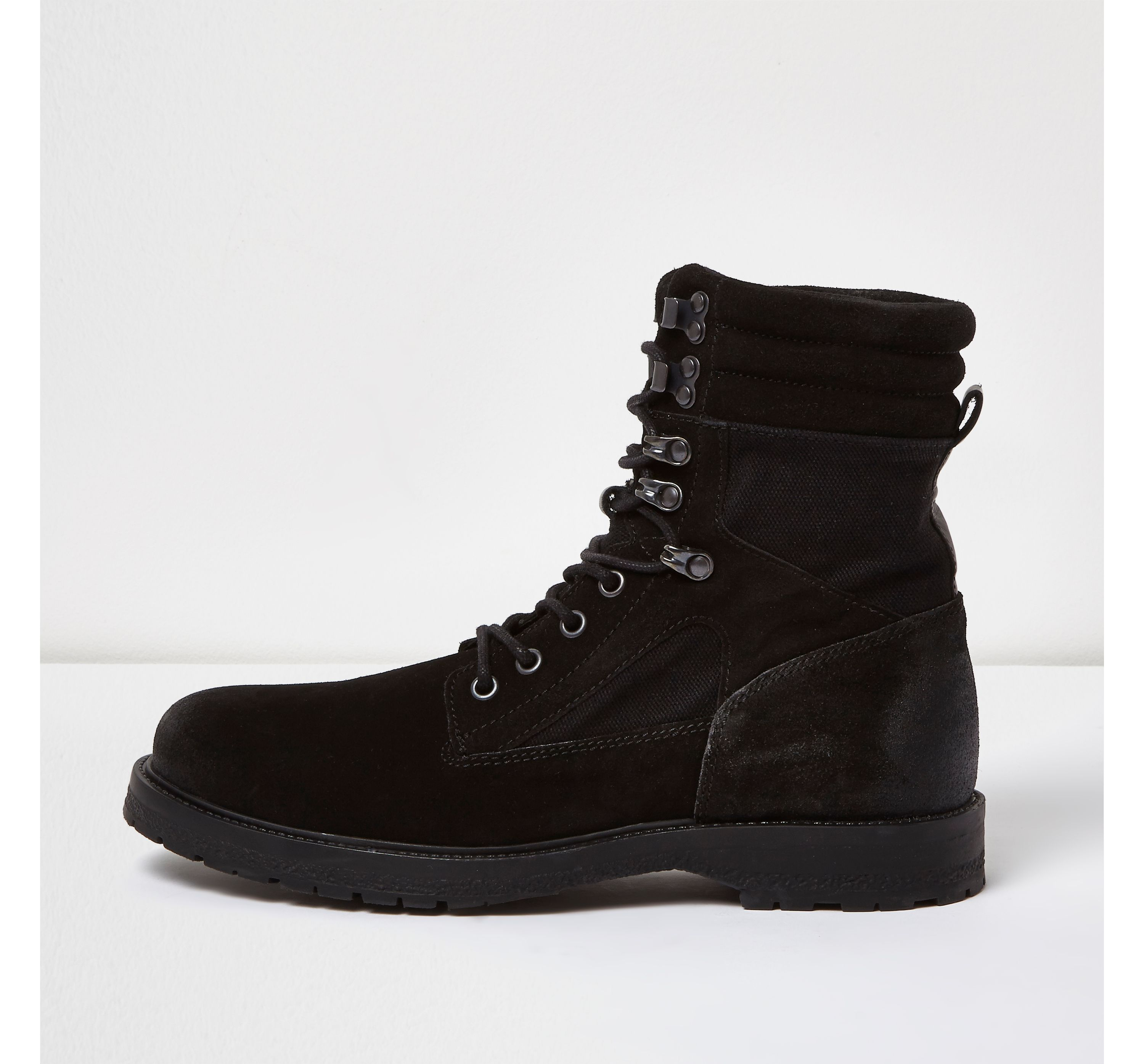 Mens Black suede combat boots by River