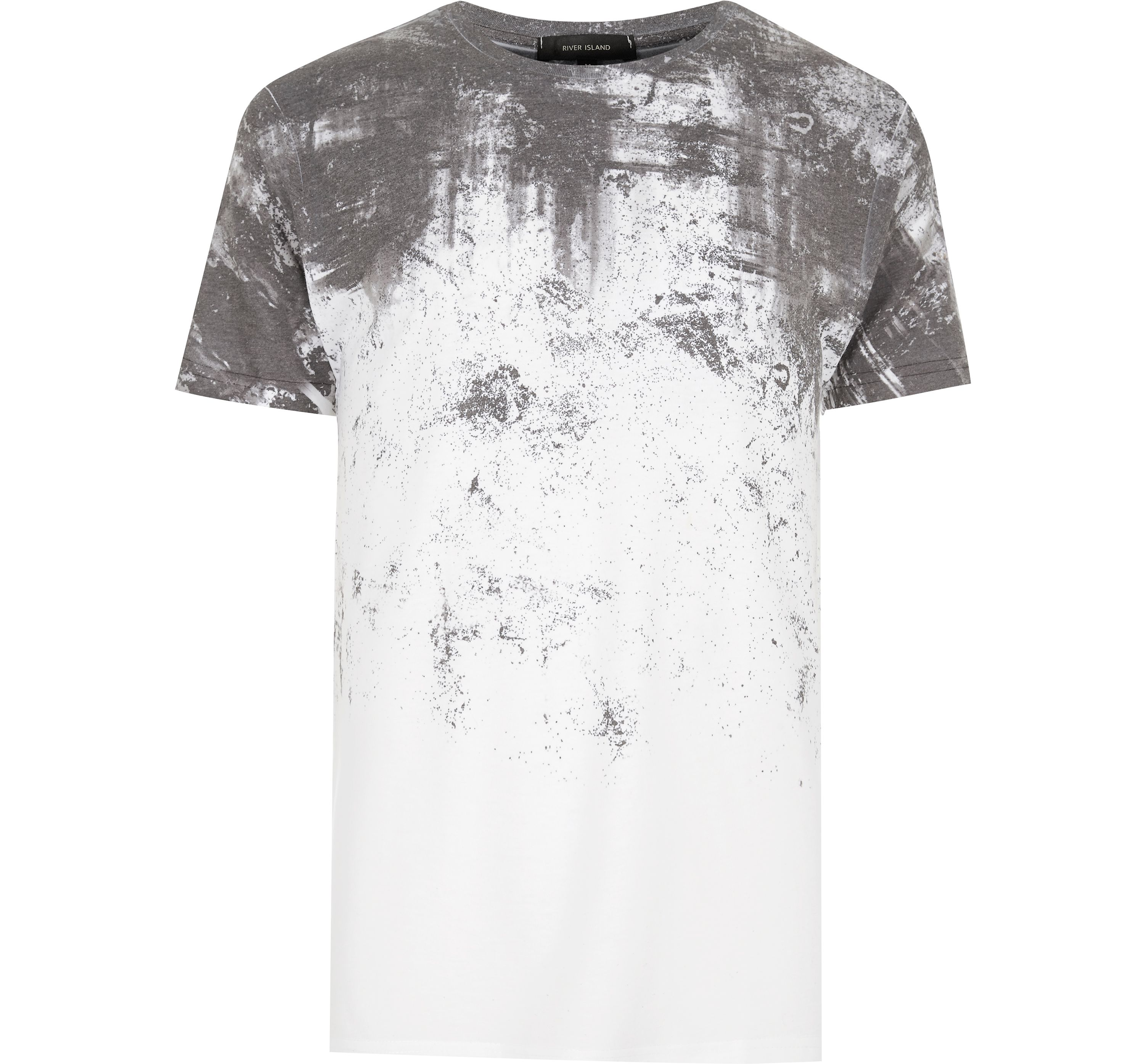 River Island Mens White cracked fade print T-shirt