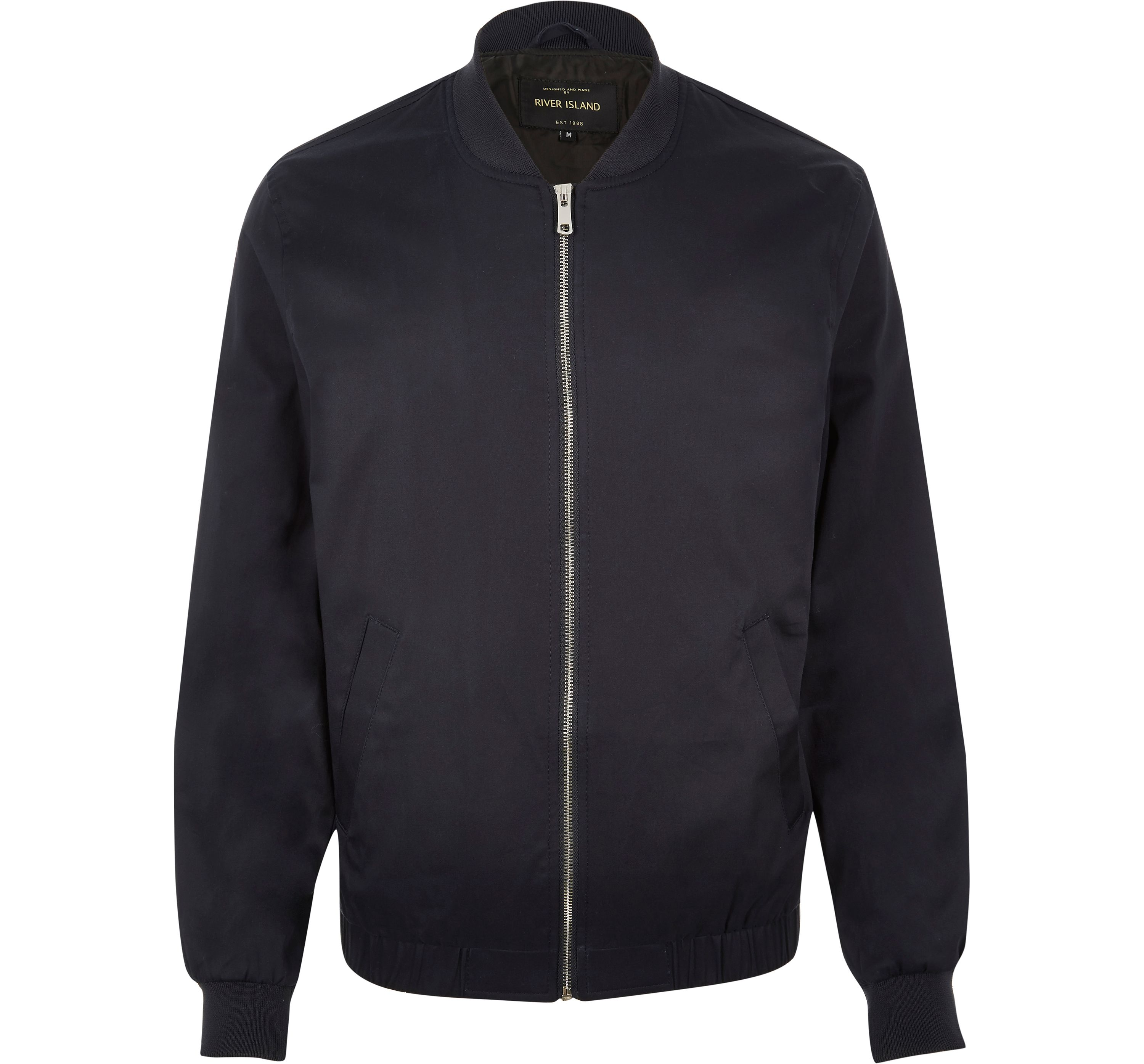 River Island Mens Navy bomber jacket