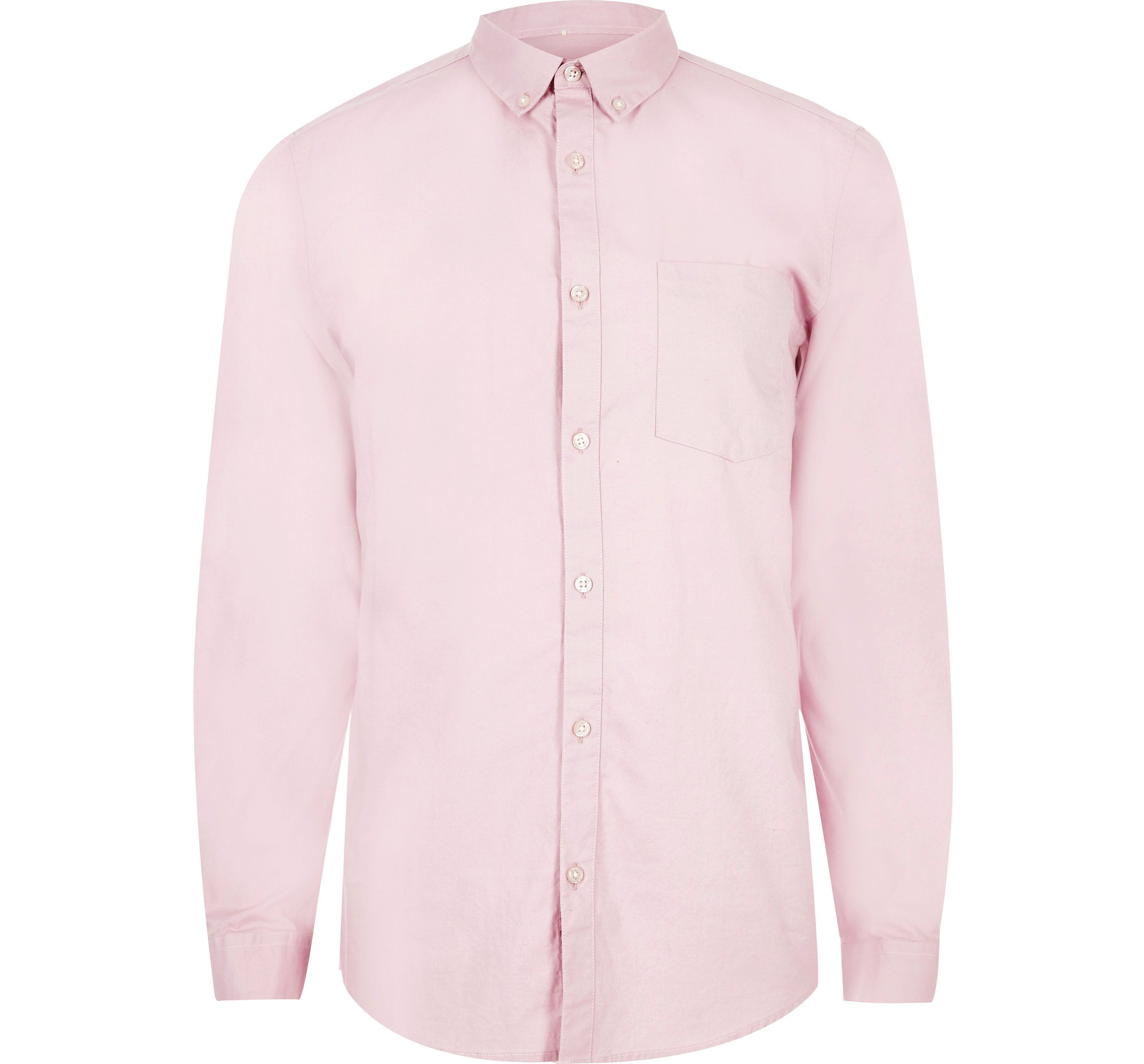 River Island Mens Dusty Pink casual Oxford shirt