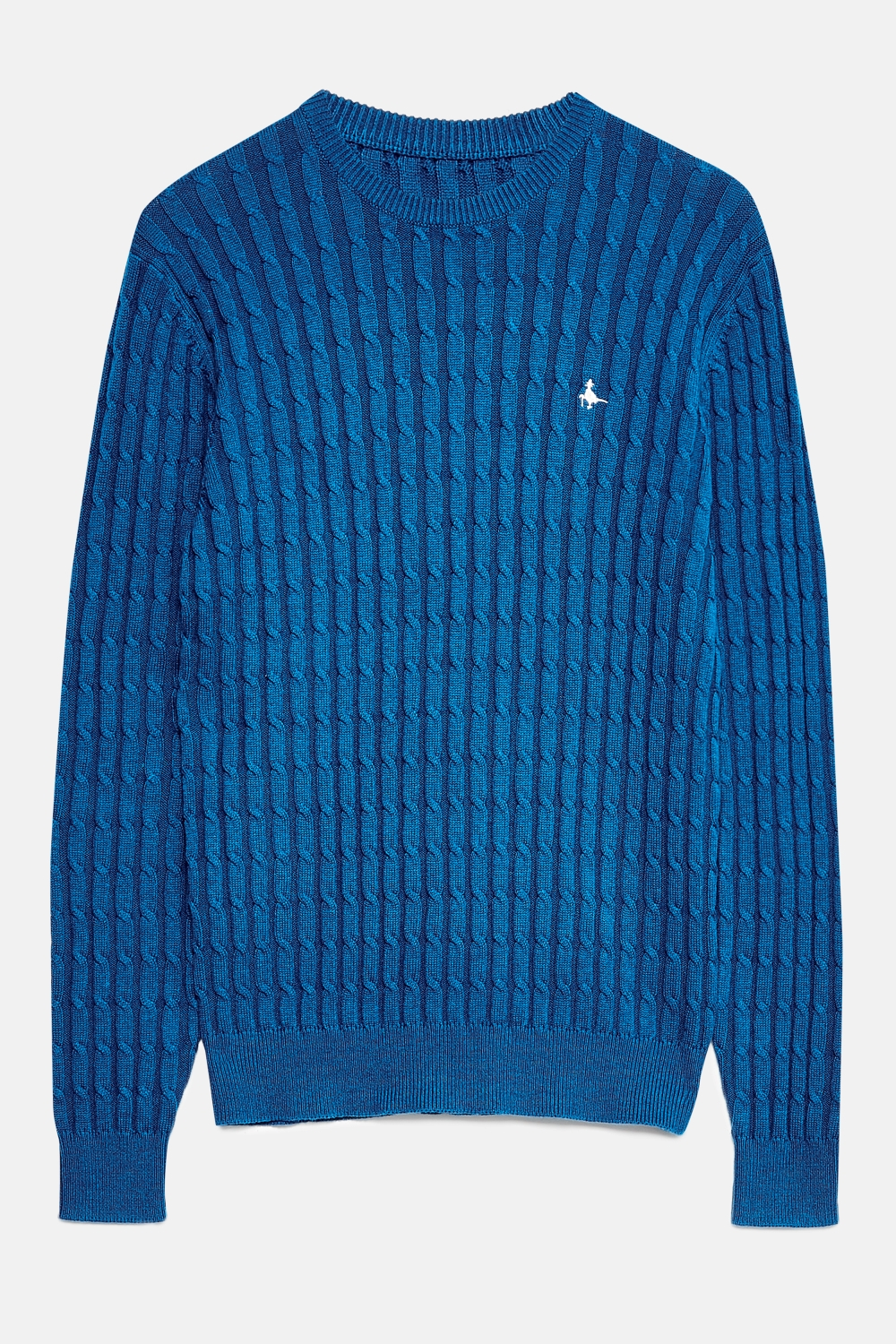 Jack Wills Blue MARLOW CABLE CREW NECK JUMPER