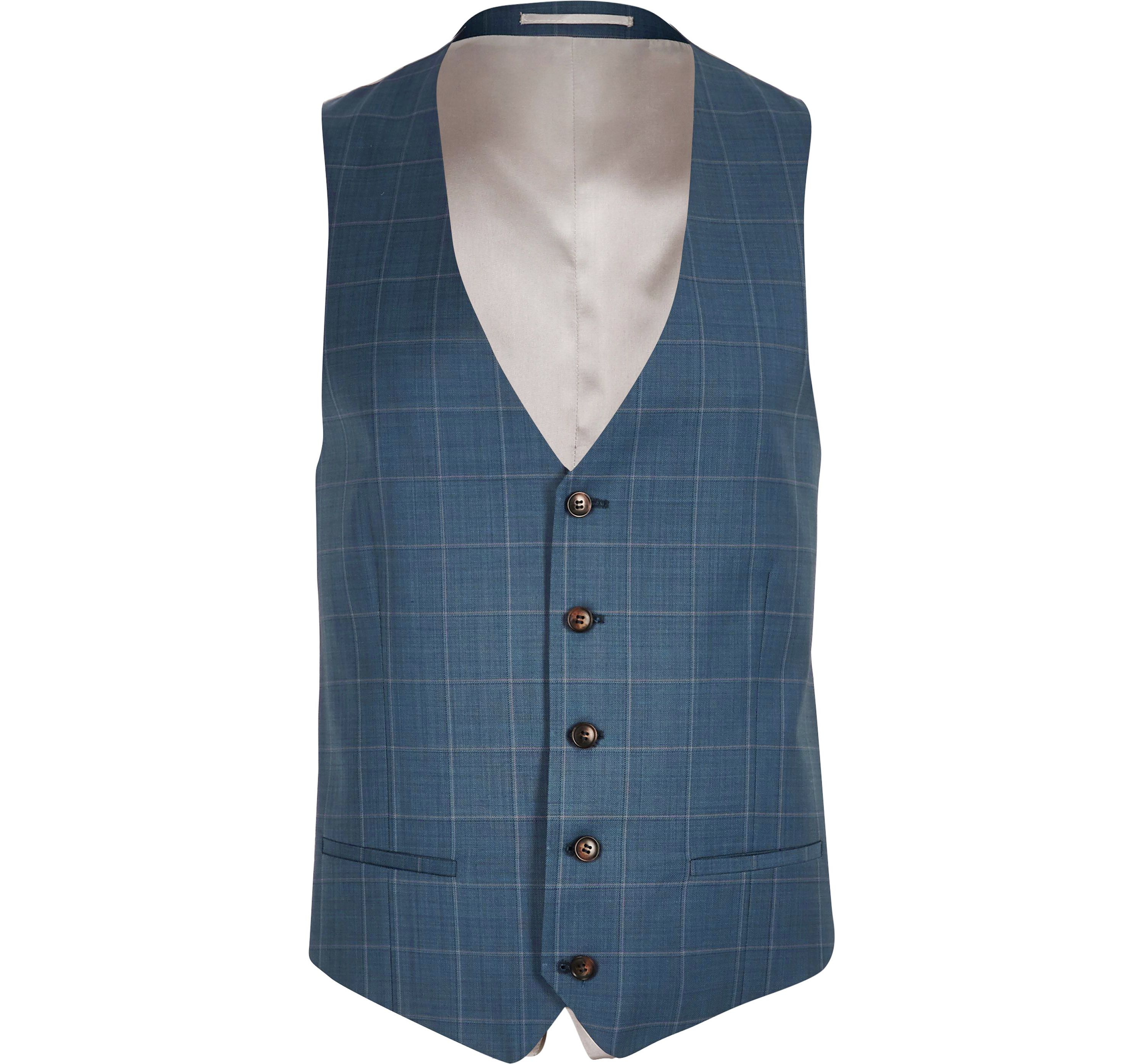 River Island Mens Blue check slim fit waistcoat