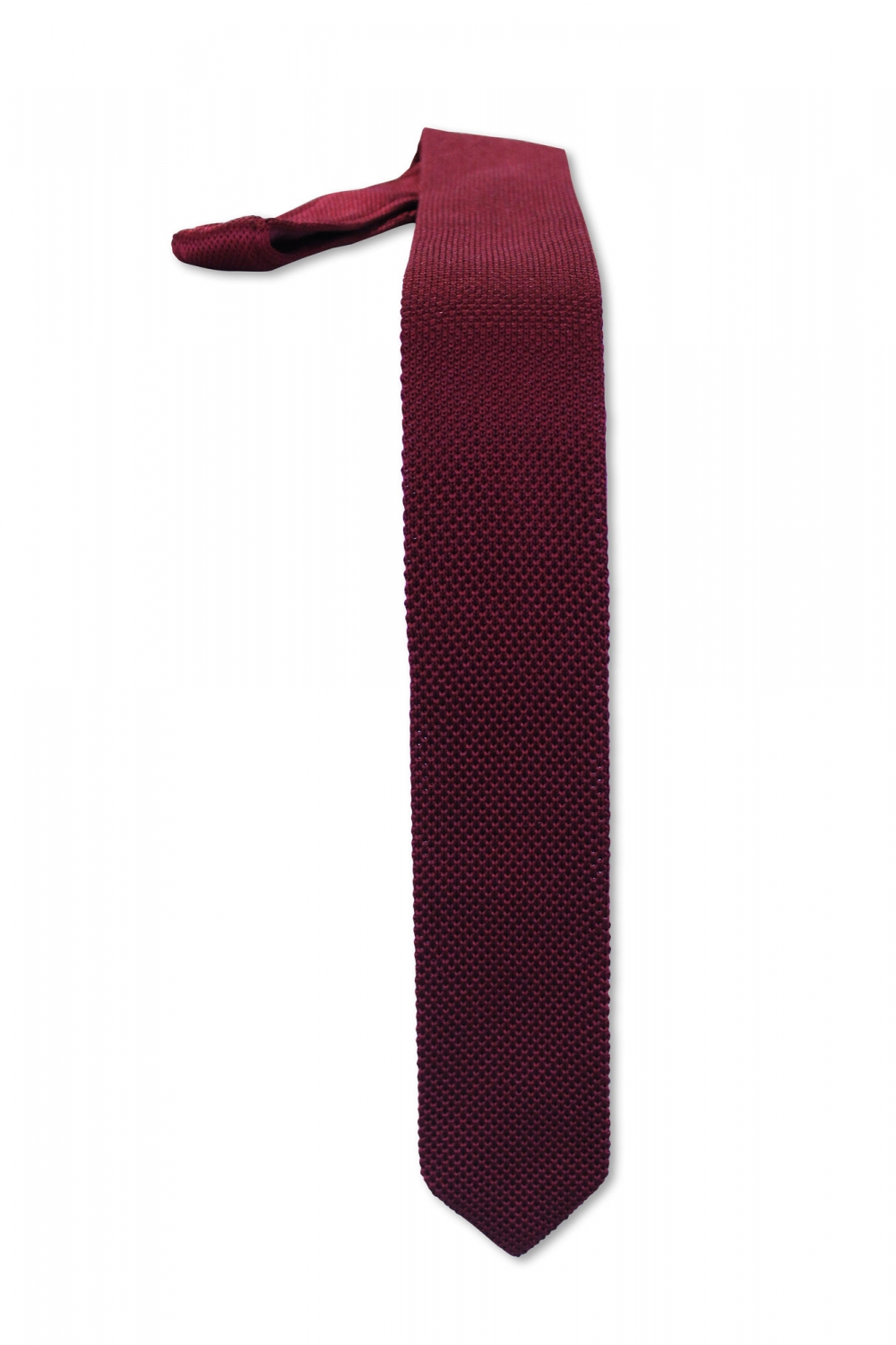 Noose & Monkey Bowie Plain Knitted Tie Burgundy