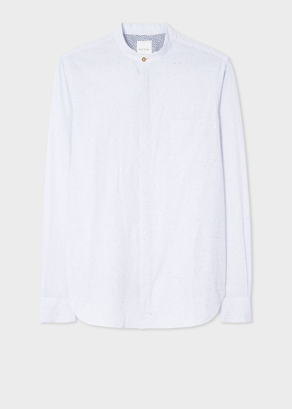 Paul Smith Men's Tailored-Fit White 'Graph Check' Nep-Cotton Band-Collar Shirt