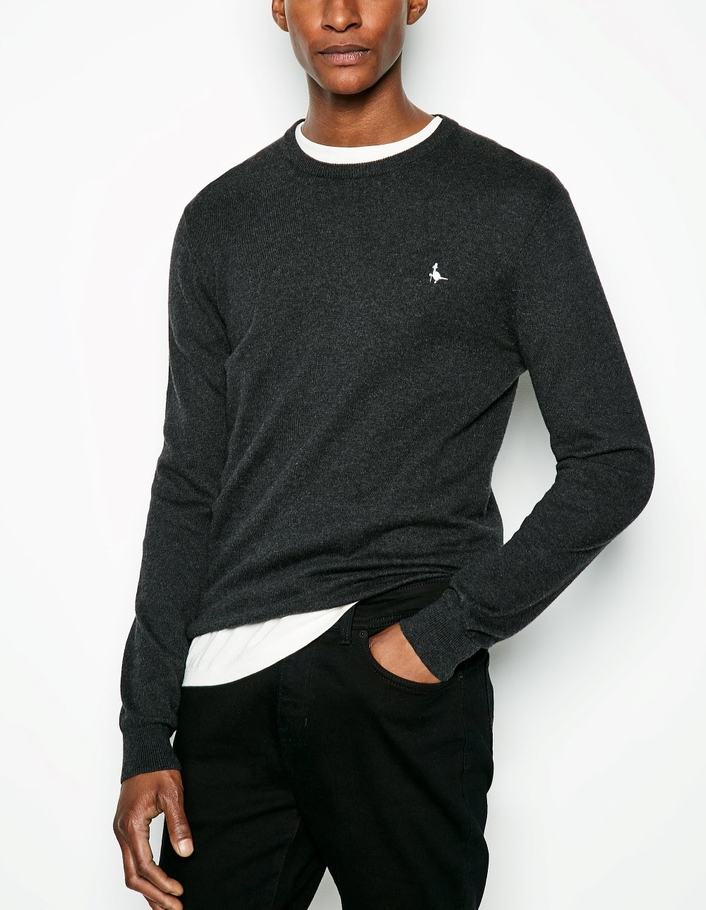 Jack Wills Charcoal SEABOURNE CLASSIC CREW NECK JUMPER