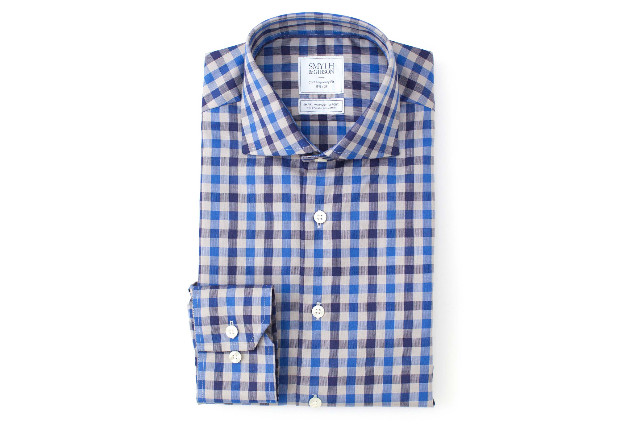 Smyth & Gibson Non-Iron Herringbone Twill Check Contemporary Fit Shirt in Blue
