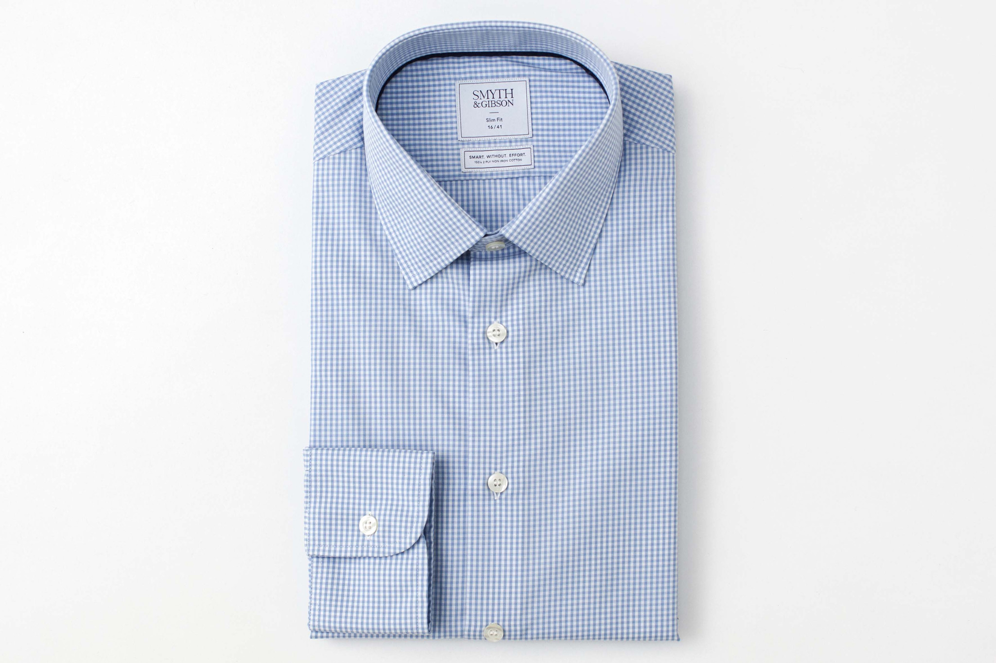 Smyth & Gibson Mens Non-Iron Sky Blue Gingham Check Slim Fit 100% Cotton Shirt