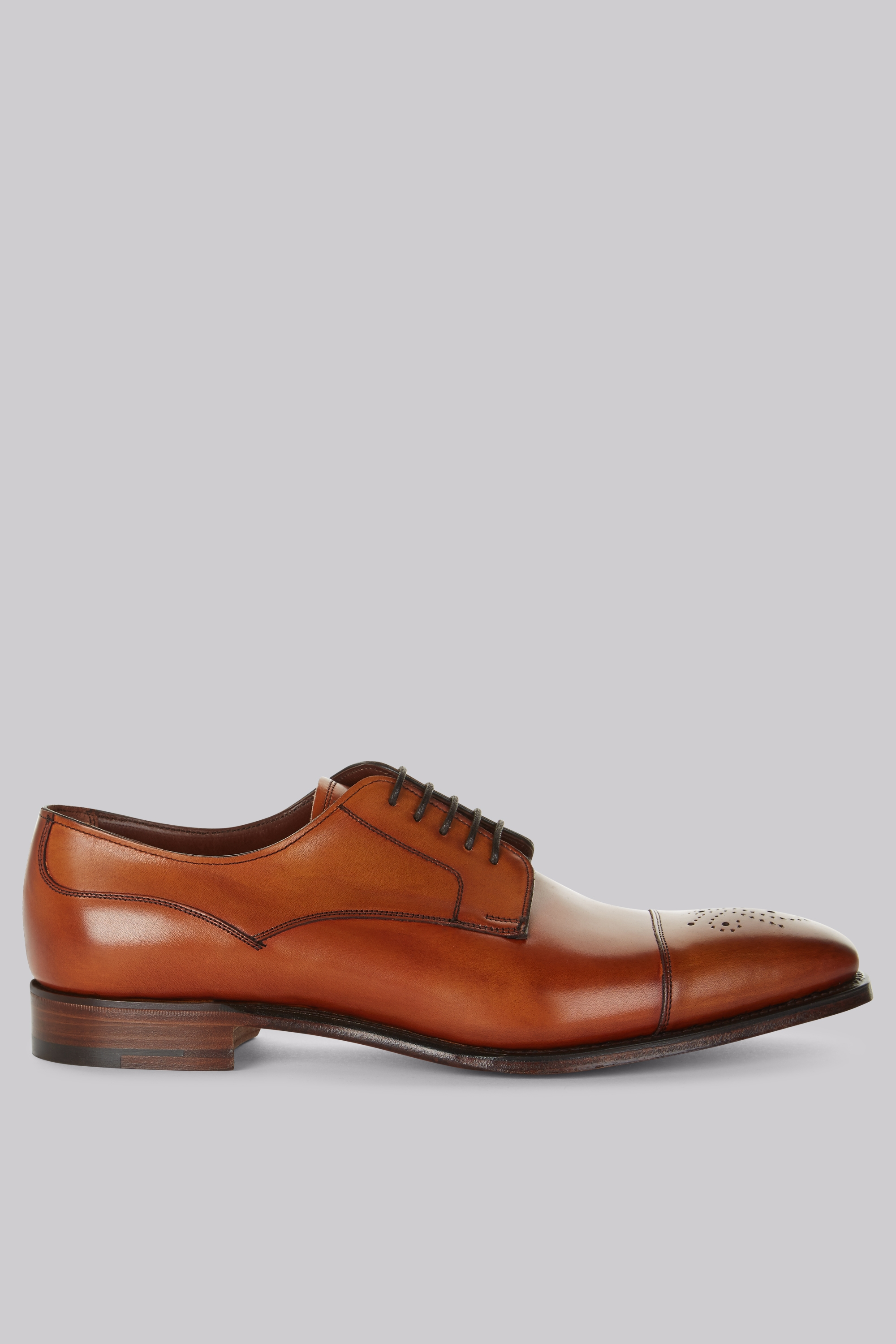 Moss Bros Cheaney Shoes Tan Punch Toe Derby Shoes