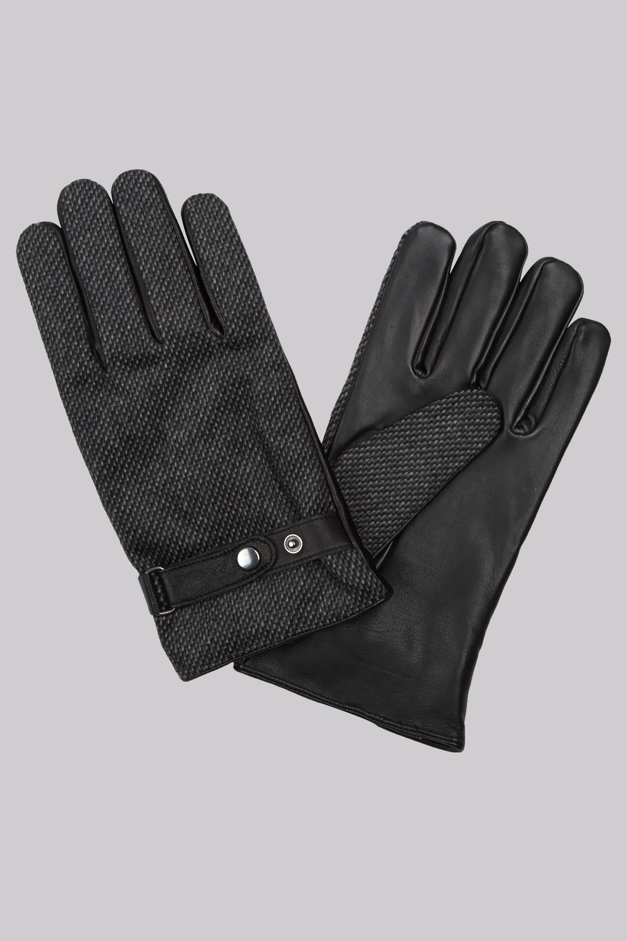 Moss Bros Moss 1851 Black Fabric Backed Leather Strap Gloves