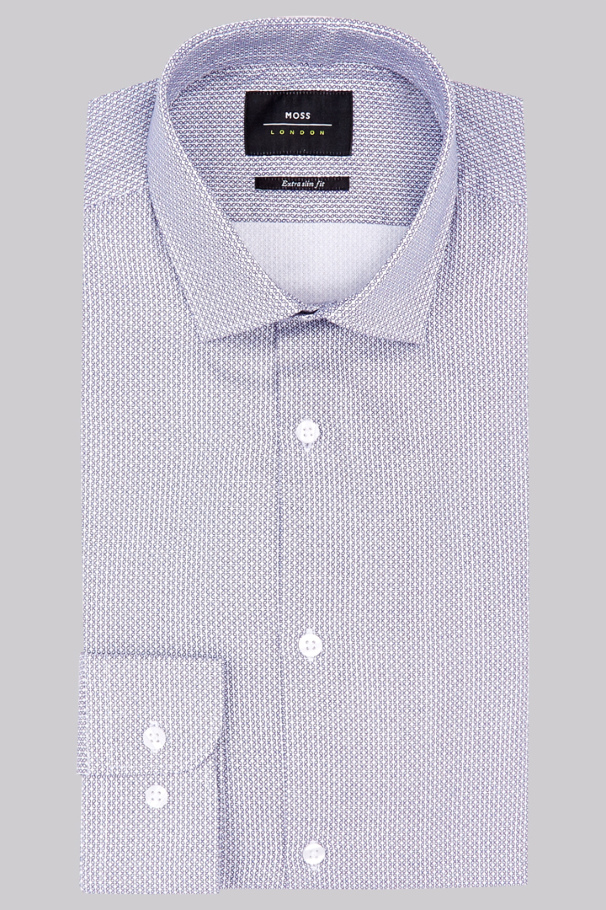 Moss Bros Moss London Premium Extra Slim Fit Navy Single Cuff Oxford Cotton Printed Shirt