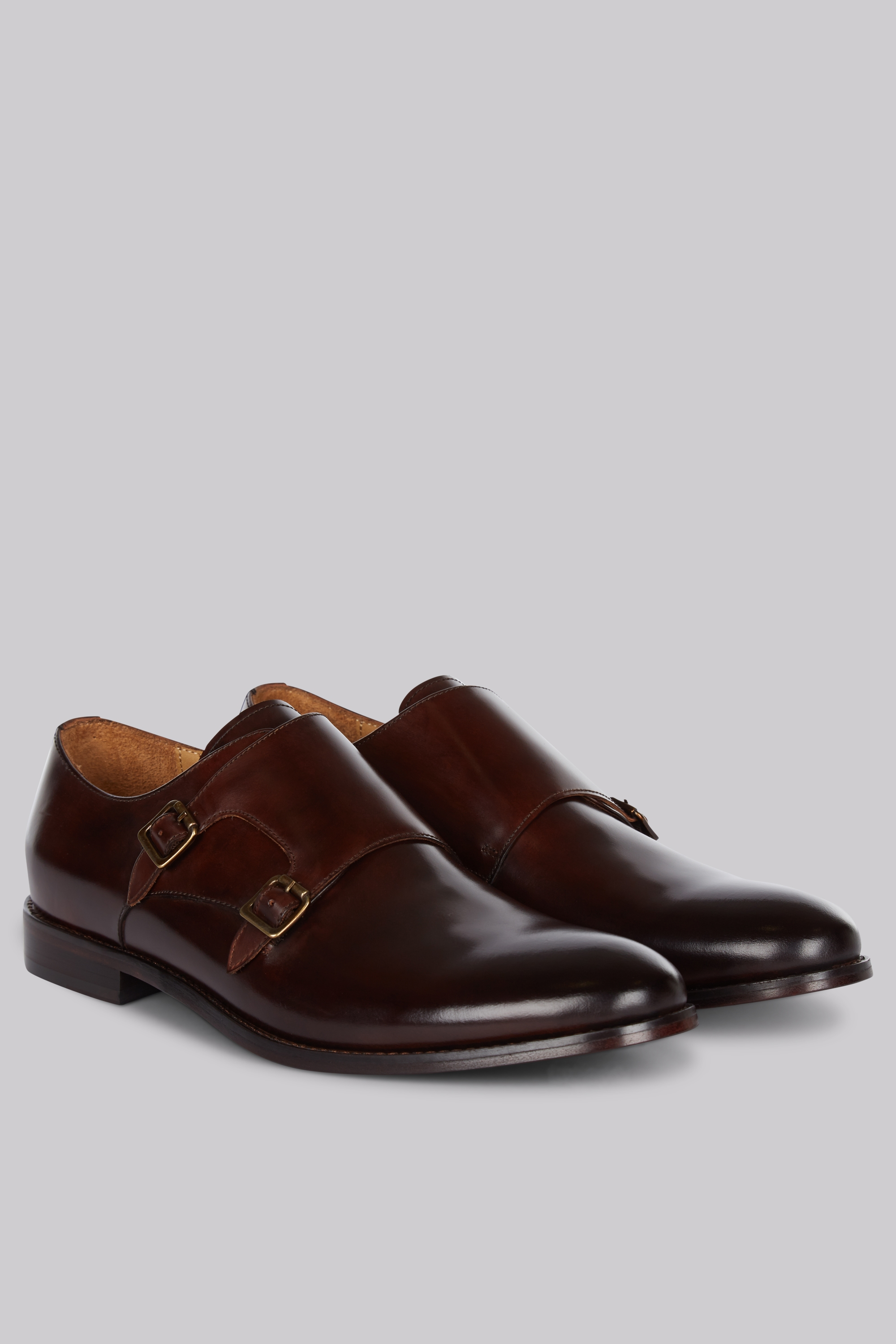 Moss Bros Hardy Amies Brown Double Monk Shoes