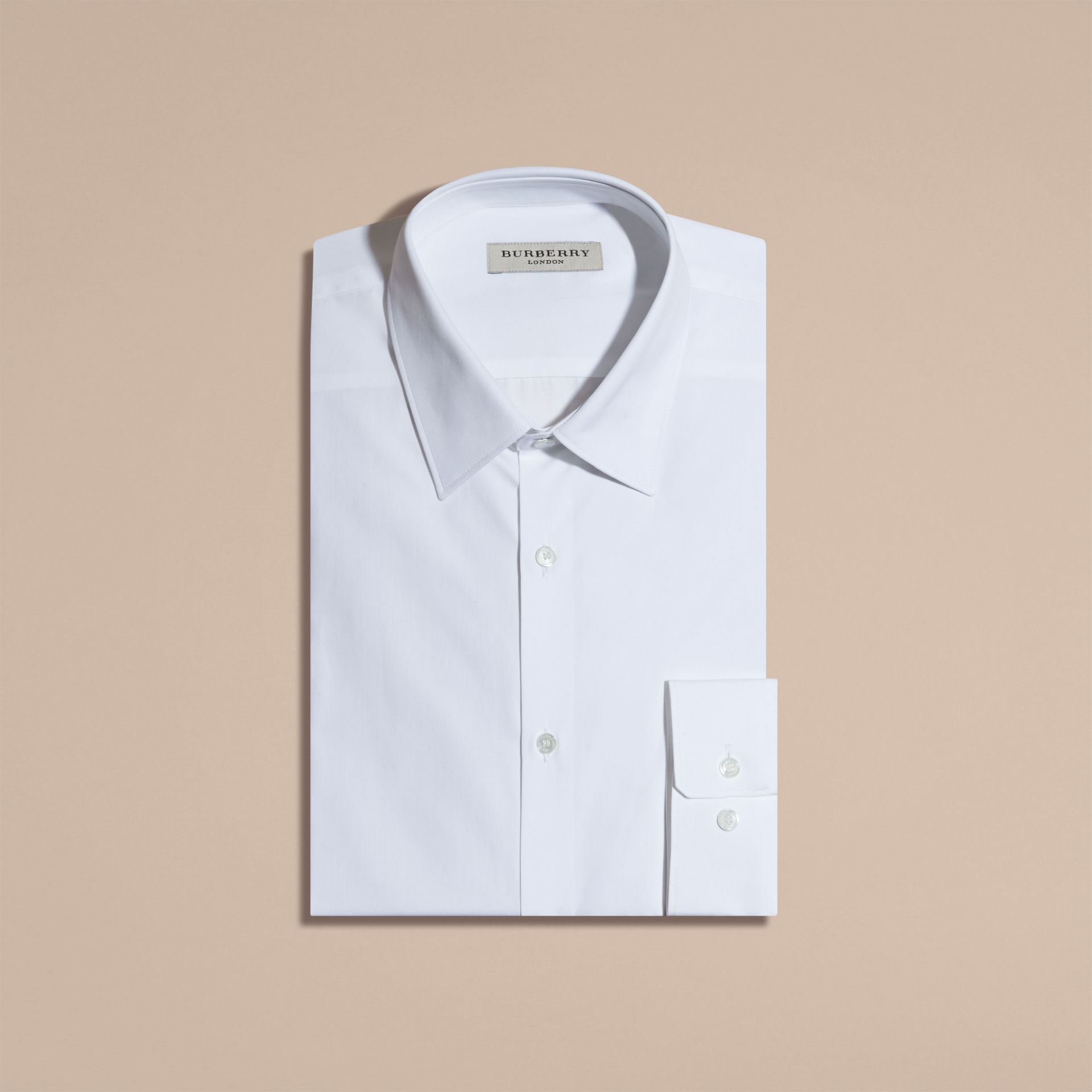 Burberry White Modern Fit Cotton Poplin Shirt