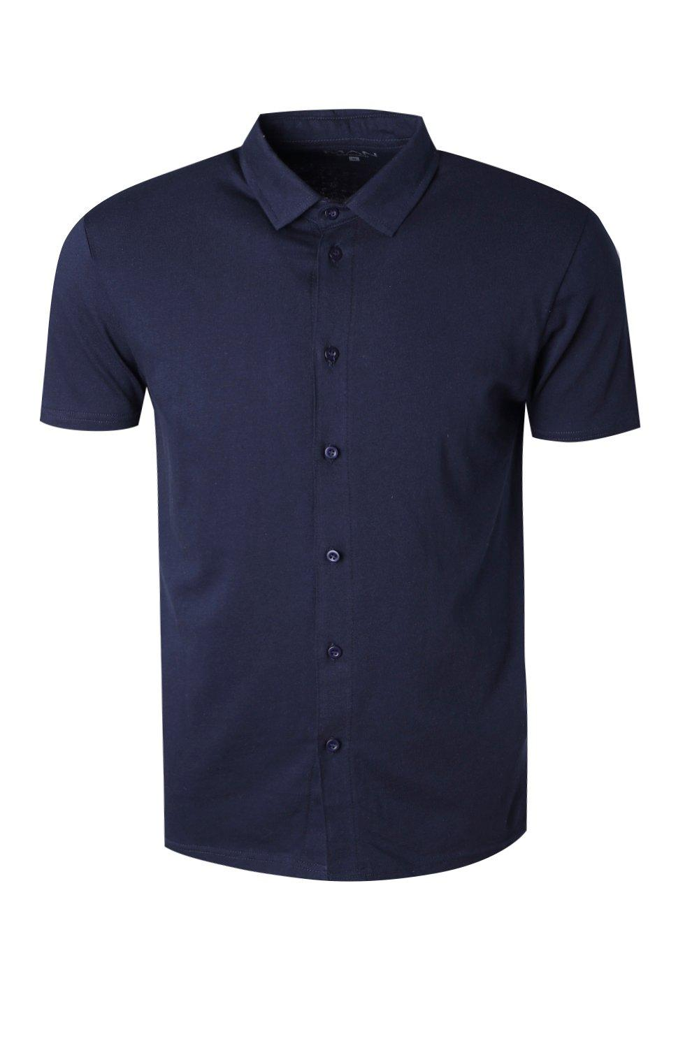 boohooMAN navy Muscle Fit Short Sleeve Jersey Shirt