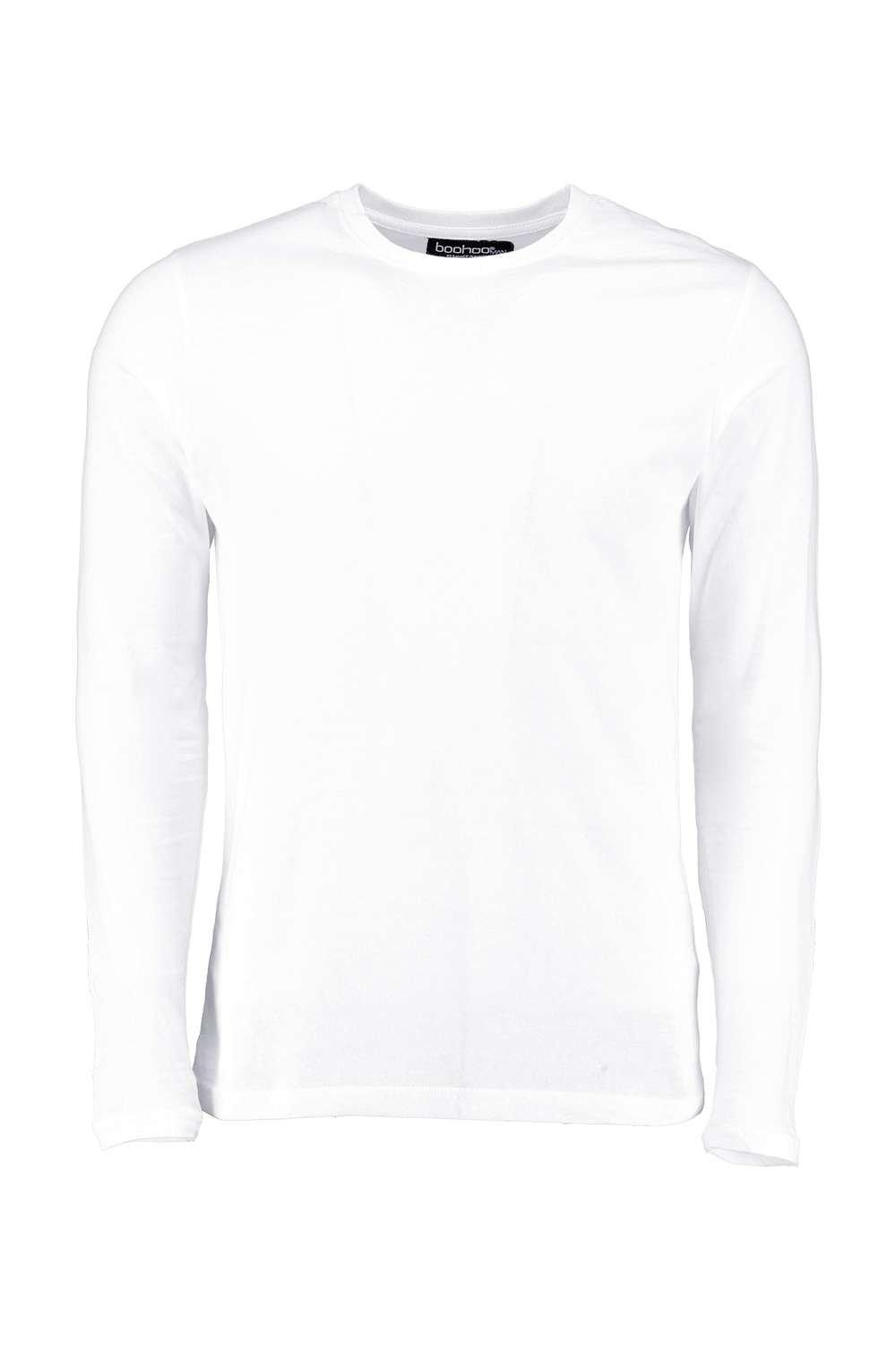 boohooMAN white Basic Long Sleeve Crew Neck T Shirt