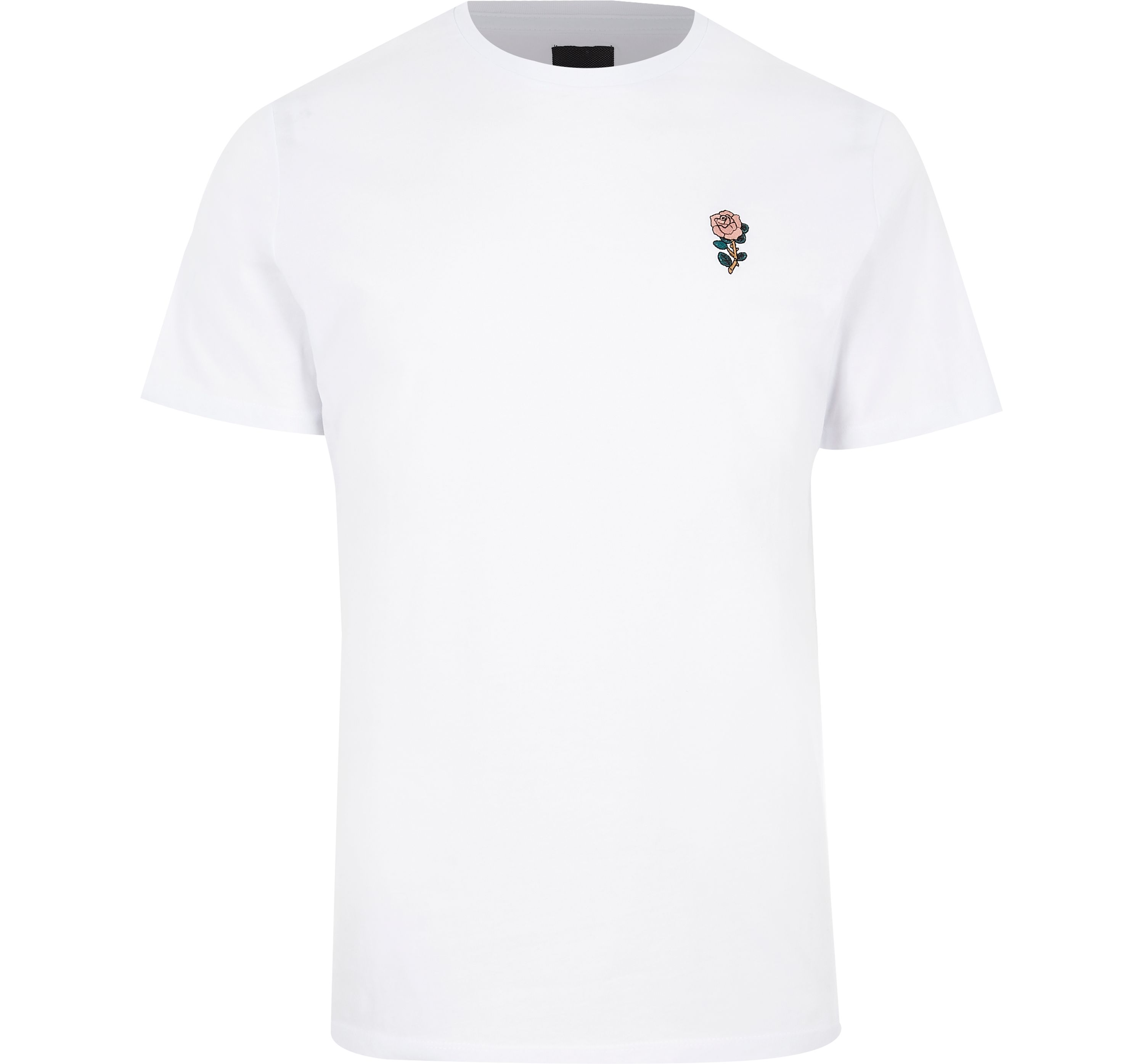 River Island Mens White rose chest embroidery slim fit T-shirt