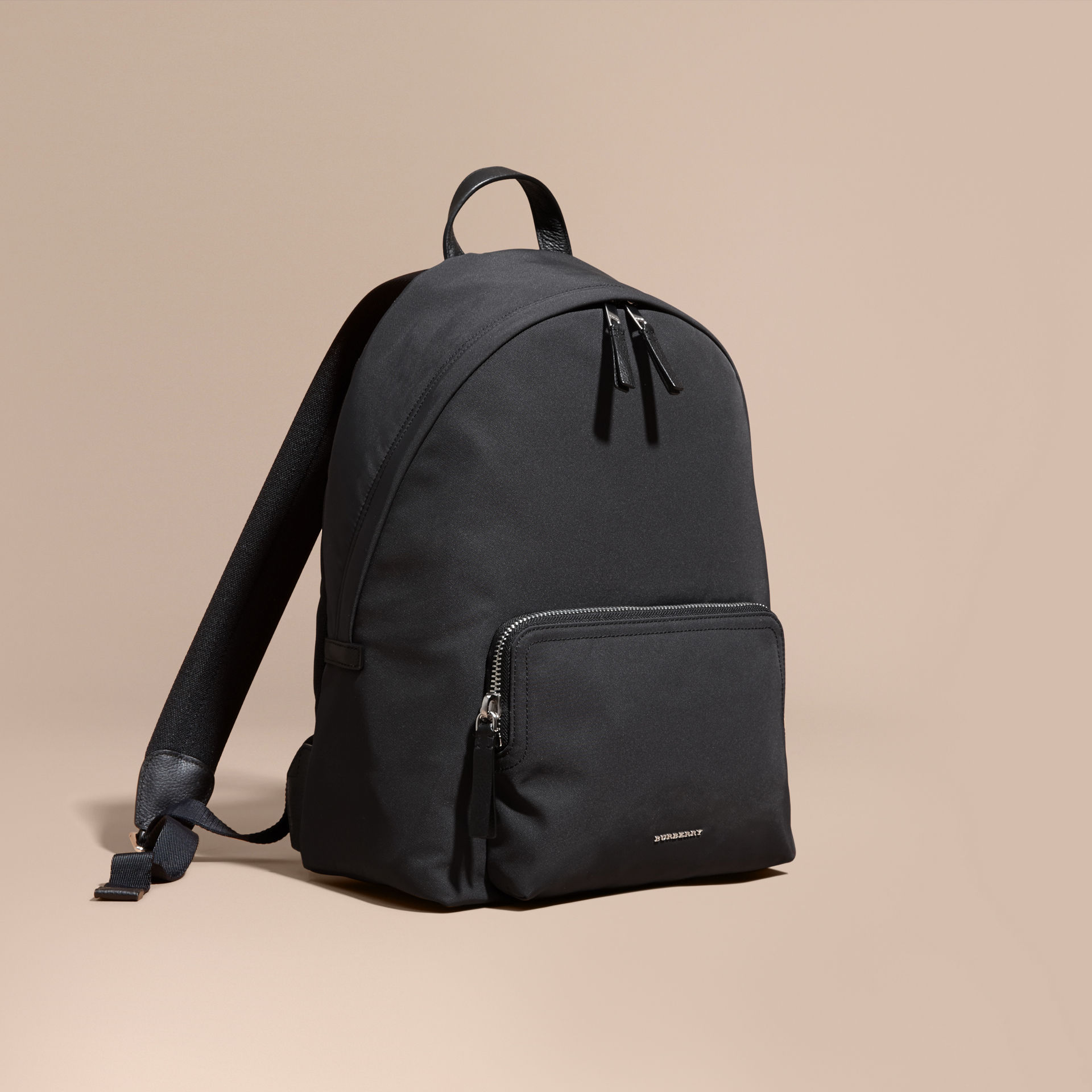 Burberry Black Leather Trim Technical Backpack