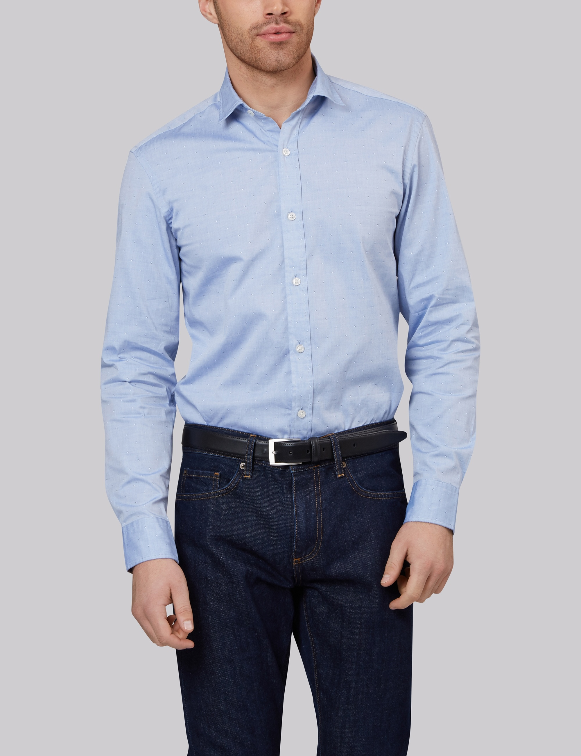 Moss Bros Moss 1851 Slim Fit Blue Oxford Texture Casual Shirt