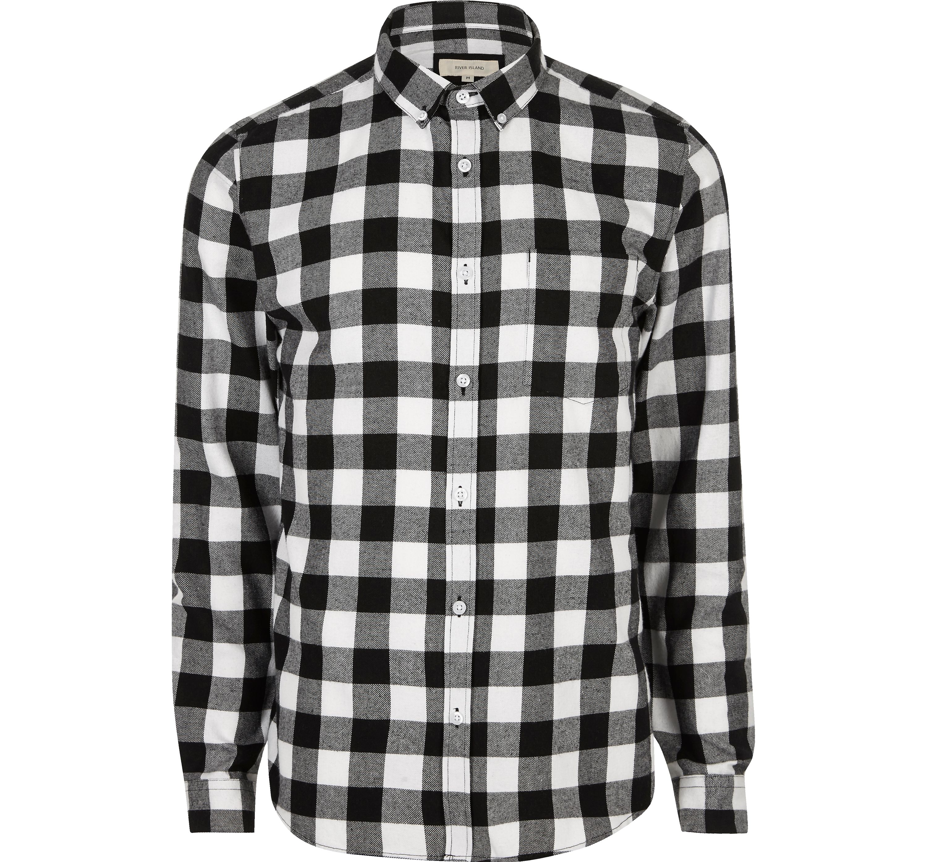 River Island Mens Black and white casual check flannel shirt