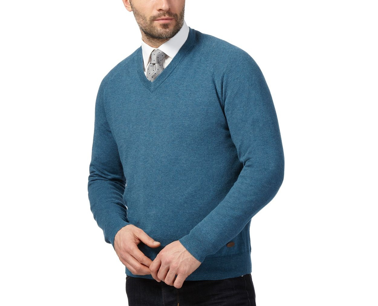 Hammond & Co. by Patrick Grant Turquoise Big and tall turquoise v neck jumper with wool