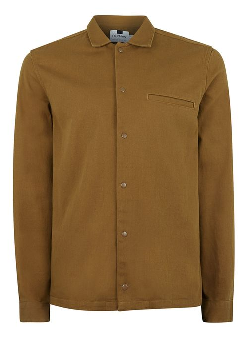 Topman Brown boxy fit overshirt