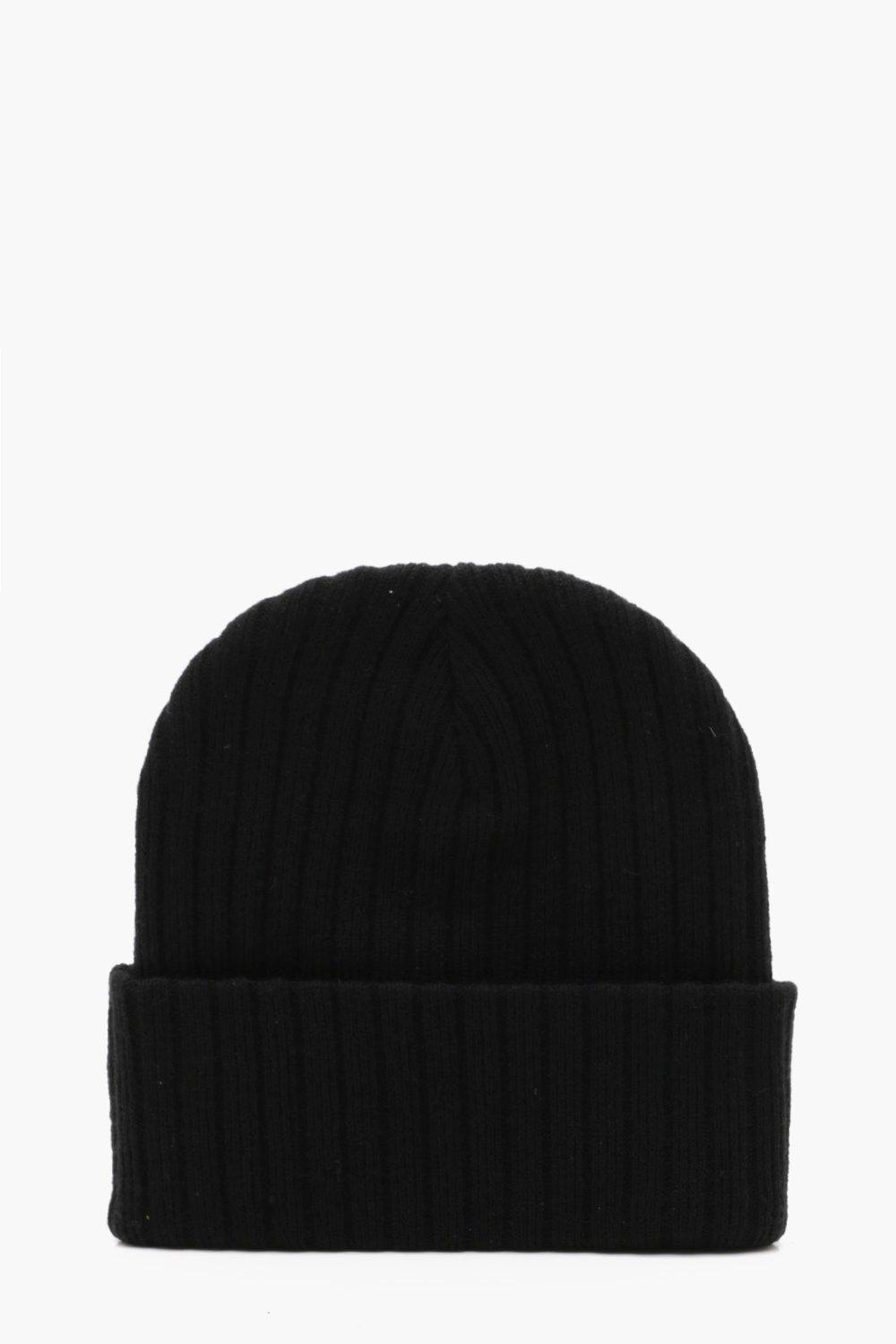 boohooMAN black Ribbed Knit Beanie With Turn Up