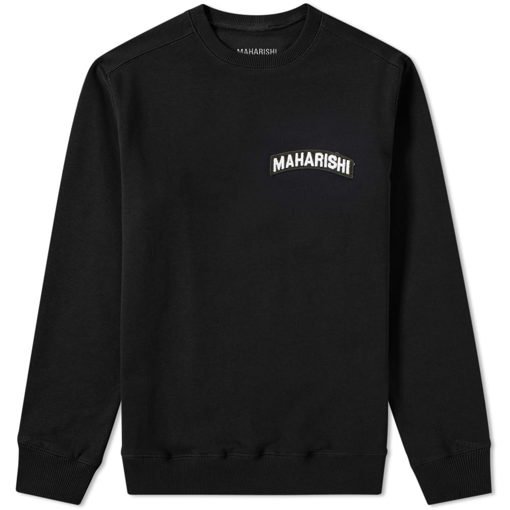 Maharishi Black Collegiate Patch Crew Sweat