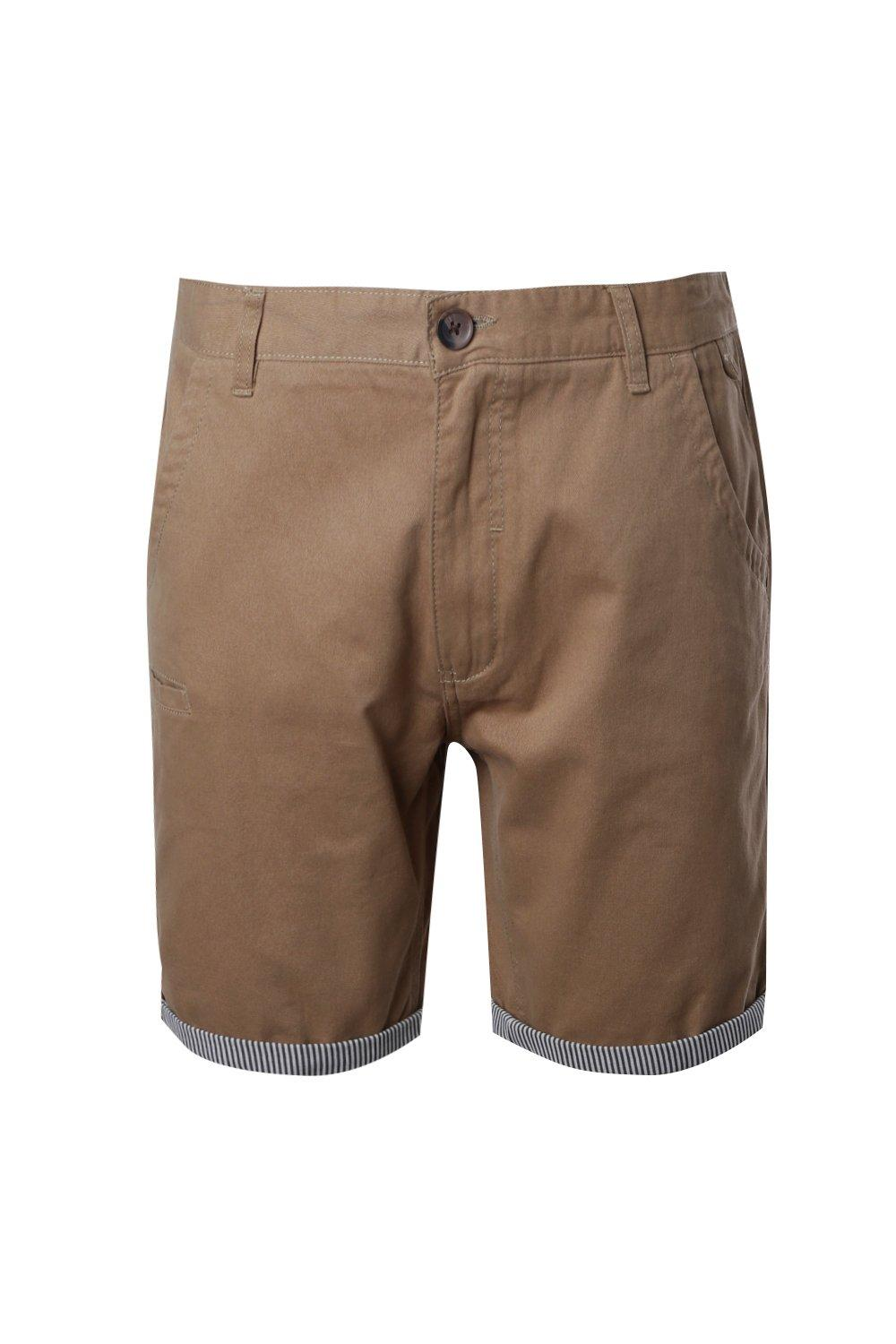 boohooMAN stone Chino Shorts With Stripe Turn Up